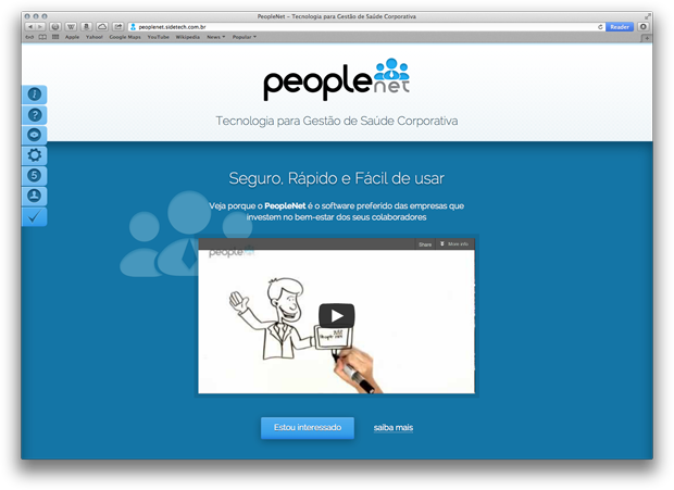 Screenshot do novo website PeopleNet