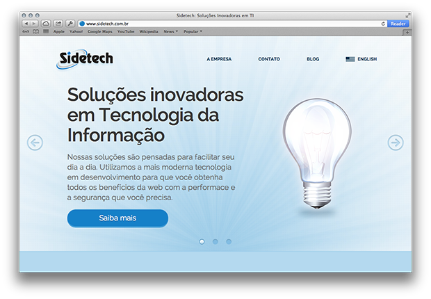 Screenshot do novo website Sidetech